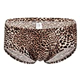 Men's Briefs Sexy Leopard Low Rise Print Underwear Man Shorts Underpants and Tank Top,MmNote Brown