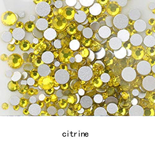 AAAAA Top Kwaliteit Kristal Niet Hotfix Strass Super Heldere Glas Strass 3D Nagel Art Decoratie DIY Jurk Kleding SS20 1440pcs Citrien