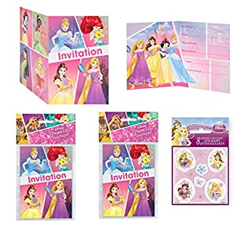 Party Bundle Princess Birthday Party Invitations - 24 Invitations with 24 Stickers