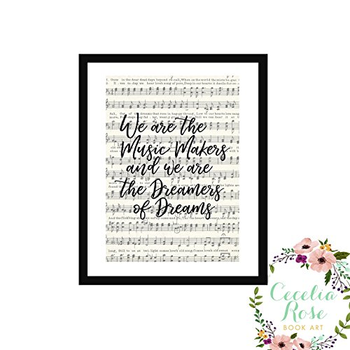 We are the music makers and we are the dreamers of dreams Willy Wonka Charlie and the Chocolate Factory Farmhouse Inspirational Quote Upcycled Vintage Book Page 6x8 Box Framed Art Print