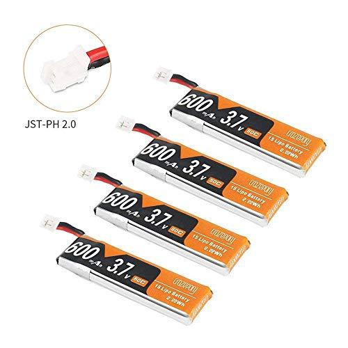 Makerfire 4pcs 600mAh 1S 3,7 V LiPo Batterie 50C JST-PH 2.0 PowerWhoop mCPX-Anschluss wiederaufladbare 1S LiPo Batterie für Inductrix FPV Plus Winzige Whoop FPV Racing Drohne usw.
