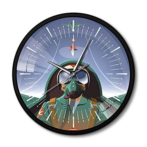 liarl Piloto Militar En Avión Cabina Avión Reloj De Pared con Marco De Metal Negro El Avión De Vuelo Jet Aviator Pared Reloj De Arte