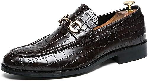 JIALUN-des Chaussures Oxford Décontracté Personnalité Texture en Métal Antirouille Décoration Chaussures Habillées (Couleur   Marron, Taille   46 EU)