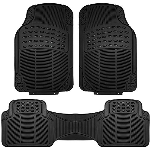 FH Group F11306BLACK Black-Solid Trimmable Heavy Duty All Weather Floor Mats 3pc Full Set