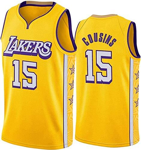 ZMIN Baloncesto Masculino NBA Jersey Cousins # 15 Lakers Jersey, Tejido Transpirable Fresco All-Star Uniformes Unisex Uniforme,L 175~180cm