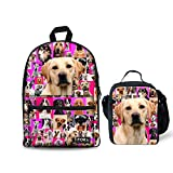 FOR U DESIGNS Golden Retriever Students Backpack One Set with School Bookbag Thermal Lunchbags Food Container Pink