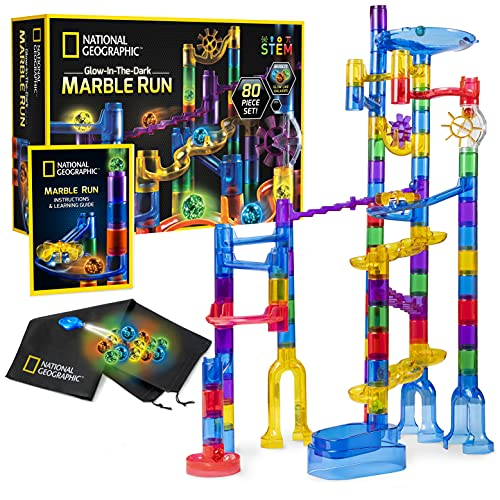 NATIONAL GEOGRAPHIC Glowing Marble Run – 80 Piece Construction Set with 15 Glow in the Dark Glass Marbles & Mesh Storage Bag, Educational STEM Toy, an AMAZON EXCLUSIVE Science Kit
