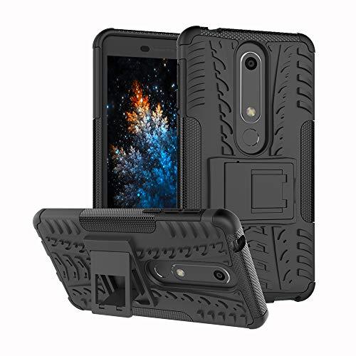 MRSTER Nokia 6.1 Hülle, Outdoor Hard Cover Heavy Duty Dual Layer Armor Hülle Stoßfest Schutzhülle mit Ständer Handyhülle für Nokia 6.1 (2018). Hyun Black