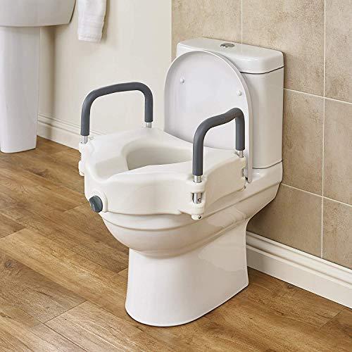 WuLien Toilettensitzerhöhung mit rutschfesten Armlehnen, Statische Belastung 150kg, für Taillen- und Beinstörung, für ältere Menschen, Behinderte, eingeschränkter Mobilität