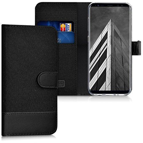kwmobile Wallet Hülle kompatibel mit Samsung Galaxy S8 - Hülle Kunstleder mit Kartenfächern Stand in Anthrazit Schwarz
