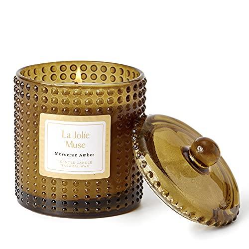 LA JOLIE MUSE Candela profumata ambra del Marocco, cera naturale, lunga durata di 75 ore, giara di vetro per regalo e decorazione casa, 285 oz