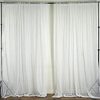 Efavormart Set of 2 2FTx10FT Fire Retardant White Sheer Voil Curtain Panel Backdrop for Window Wall Decoration - Premium Collection