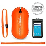 LimitlessXme Schwimmboje & Handytasche - 15l Orange. Sicherheit beim Schwimmen, Open Water und Triathlon. Swimming Buoy, Swim Bubble  SCHWIMM BOJE AUFBLASBAR