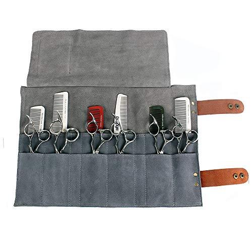 Salon Haar Schere Bag Schere Taille Pack Barber, Professionelle Friseur Werkzeugtasche Scherentasche Gürteltasche PU Ledertasche für Scheren Kämme Friseurwerkzeuge (Grey)