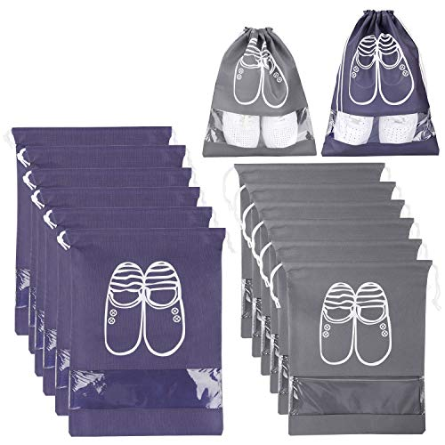 Xddias 12 Stück Schuhbeutel, Wasserdichter Schuhtasche mit Transparente Fenster, Leicht Zugband Travel Aufbewahrungsbeutel (Zwei Farbe)
