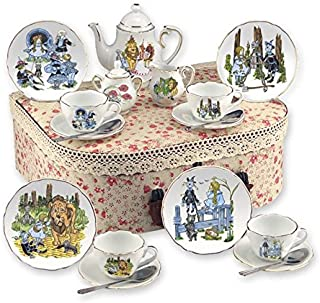 Kids Porcelain Real Gold Trim Tea Set Reutter Wizard of Oz Tea Set of 4 16pcs with Hamper Case Size Medium