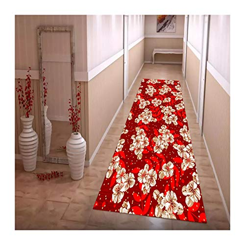 JIAJUAN Hallway Runner Rug, Non-slip Cuttable Living Room Floor Mats, Kitchen Entrance Bedside Area Carpet, Easy To Clean, Customizable Size (Color : A, Size : 0.6x1.5m)