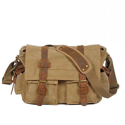 Ambielly Messenger Bags Crossbody Borse per notebook zaino della spalla singolo borse di tela per gli uomini (Ocra)