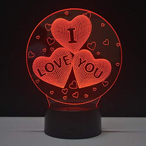 Only 1 Piece Valentine's Day Gifts Night Light Hearts 3D Table Lamp LED 7 Colores Changing Bulb Home Decor Lighting Lampara with Touch Switch