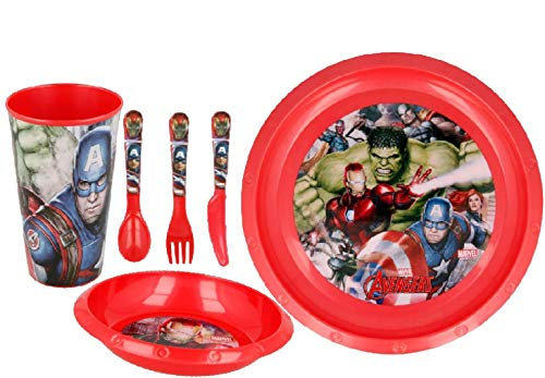 Avengers 6pc Breakfast Set Inc Plate, Tumbler, Bowl, Knife,Fork and Spoon re-usable Plastic