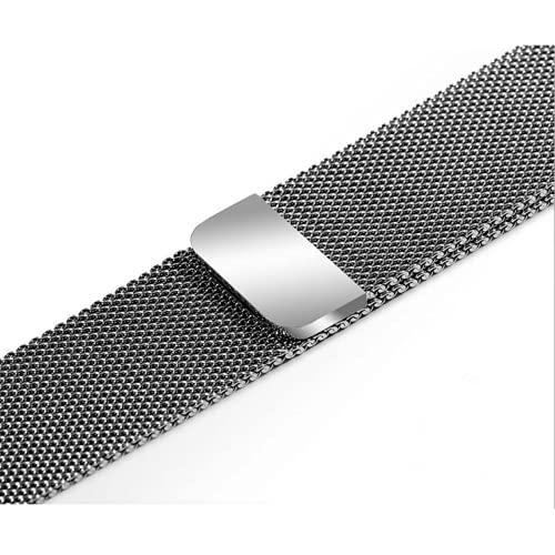 La correa de metal es compatible con 38 / 40mm 42 / 44mm. La correa es compatible con iwatch123456 SE, correa de repuesto magnética de acero inoxidable, correa de malla metálica plateada unise