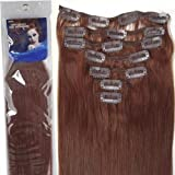 20''7pcs Fashional Clips in Remy Human Hair Extensions 24 Colors for Women Beauty Hot Sale (#33-dark auburn) by lilu