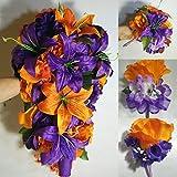 Purple Orange Rose Tiger Lily Bridal Wedding Bouquet Accessories
