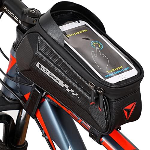 WESTGIRL Fahrrad Rahmentasche Wasserdicht, Fahrradtasche Handytasche Lenkertasche Handyhalterung Oberrohrtasche, mit TPU Touchschirm für Smartphone unter 6,7 Zoll für Montainbikes, Rennrad, Ebikes