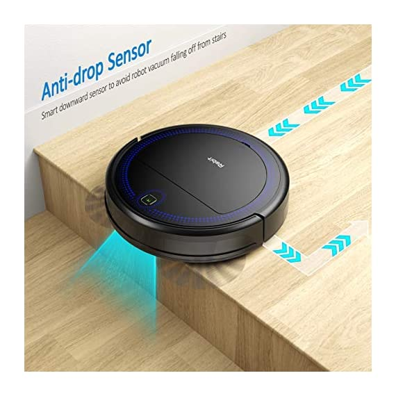 """Robit V7S PRO Robot Vacuum Cleaner, Upgraded 2000Pa Strong Suction, Ultra-Thin, Drop Sensor, Quiet, Self- Charging… 7 🐱 Enhanced 2000Pa Strong Suction: With the most advanced powerful motor, Robit V7S Pro Robot Vacuum has a 2000Pa intense suction, easily picking up dust and hair even from hard floor and carpet.3 Stage Cleaning System provided meets any various demands, you can choose whichever you like. 🐶 Slim Body & Super Quiet: Applying unique High quality Nidec brushless motor, this robot vacuum cleaner is endowed with mini noise while cleaning, so you can enjoy yourself with no disturbance. Only 3.1"""" height makes it easy to freely glide under the bed, the sofa or the table , and all the hidden dust can be swept away. 🐹 Schedule a Cleaning : Delivered by a Time Reservation, this robot vacuum pet can work perfectly as scheduled and multiple cleaning modes generates a customized cleaning routine."""