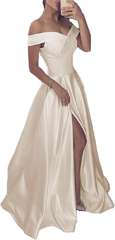 KaBuNi Women's Off The Shoulder Side Slit Prom Dresses Formal Evening Gowns