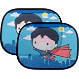 2 Pack Cute Chibi Superman Side Car Window Sun Shade - 17'x13' Licensed DC Comics Superhero Cling Sunshade for Glare-UV Ray Protection for You and Your Child BabyUniversal Fit for Car Sedan Truck SUV