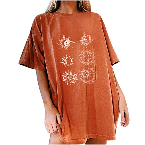 Womens Vintage Oversized T Shirts Teen Girls Casual Short Sleeve Moon and Sun Print Christian Faith Top Orange