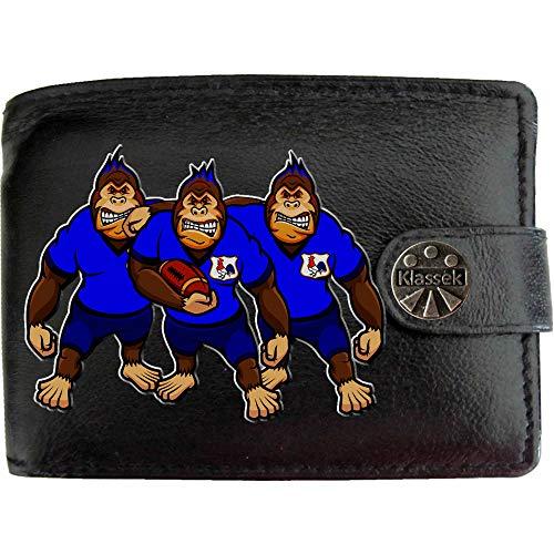 Frankreich Rugby Gorilla Frankreich Hahn Karikatur Shirt Bild auf KLASSEK Marken Herren Geldbörse Portemonnaie Echtes Leder RFID Schutz mit Münzfach Zubehör Geschenk mit Metall Box