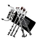 Pinceaux Maquillages, Chacca Kit Pinceaux de Maquillage 5 pièces, Design Baguette Magique Look fantaisie avec fins cheveux, Argent Noir