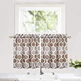 Haperlare Tier Curtains, Geometric Pattern Short Bathroom Window Curtain, Trellis Design Half Window Kitchen Cafe Curtains, 28' x 24', Taupe/Brown, Set of 2