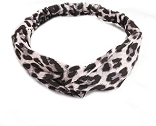 Huachi Leopard Headband Cross Knot Hair Bands Stretch Cheetah Head Wrap for Girls Women's Sweat Hair Accessories for Yoga Workout Sports, Off-white