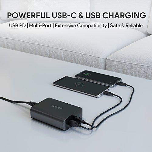 USB C Ladegerät AUKEY 72W 3-Port-Schnellladegerät mit 60W Power Delivery 3.0 Ultrakompakter PD Adapter für MacBook Pro, Dell XPS, iPhone 11 Pro Max SE, Galaxy S10 iPad Pro AirPods Pro Pixel 4XL Switch