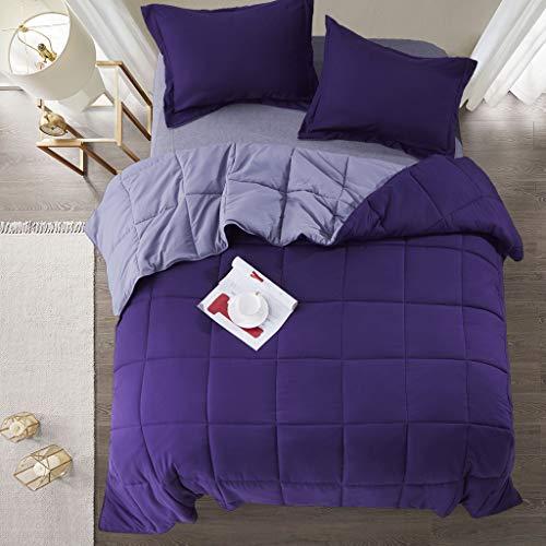 EvJk 3 Piece All Season Down Alternative Purple Reversible Comforter Duvet Insert King - Diamond Stitched & 4 Corner Tabs - Machine Washable, Durable, Ultra Soft (LQ-Downalt)