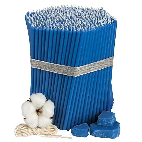 Diveevo - 500 candele di cera d'api sottili, colore blu, 165 mm, Ø 5,7 mm, durata 50 minuti