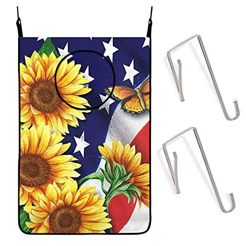 IUBBKI American Sunflowers Mariposa Bandera Puerta Colgante Cesto de lavandería Bolsa Colgador Bolsa de almacenamiento para baño Dormitorio Ahorro de espacio para juguetes de tela Libros con g