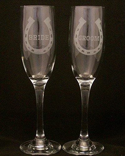 Lucky Horseshoe Bride and Groom Wedding Champagne Flutes, Wedding glasses, bride and groom glasses, Champagne toasting glasses