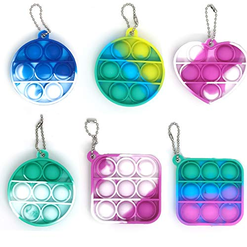 Donia 6 Pcs Pop Fidget Simple Dimple Toy, Mini Push Pop with Key Chain, Bubble Wrap Sensory Silicone Toy, Autism Special Needs Stress Reliever Tactile Logic Game for Kids