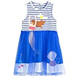 Girls Clothes Cotton Short Sleeve Casual Summer Striped Dresses for Girls Kids 3-8 Years (Blue, 3T)