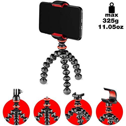 JOBY GorillaPod - Kit Básico Trípode Mini Flexible con Pinza Universal para Smartphone, Adaptador GoPro y Adaptador de Antorcha, Peso hasta 325 g, JB01571-BWW