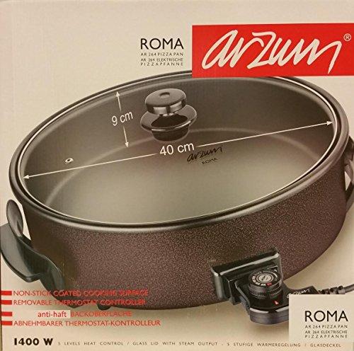 ARZUM 'ROMA' AR264 gold XXL (Ø 40cm; Tiefe 9cm) Partypfanne/ Elektrische Pizzapfanne Elektropfanne Bratpfanne/ Antihaft-Beschichtung/ 1400 Watt (100-240 °C)/ in gewohnter Arzum-Qualität