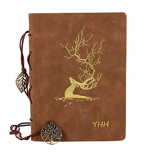 YHH A5 Dotted Notebook Leather Vintage Dot Grid Journal with Accessories Refillable Organiser Travel Planner Dairy Gift Set for Men Women Adult Kid Elegant Light Gold Deer Brown Luxury