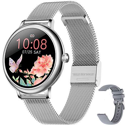 Smartwatch, Damen, Smartwatch Sportuhr, Schrittzähler, wasserdicht, IP67, Schwimmen, Laufen, Smartwatch, Vibration, Stoppuhr, Fitnesstracker für Android iOS (Silber)