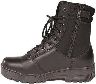 Paire Chaussure Montantes/Boots Tactical en Cuir ET Cordura Noir A Lacet ET Zip Miltec