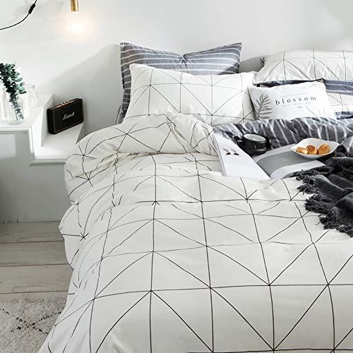 Luofanfei Baumwolle Bettwäsche 4 Teilig Streifen Kariert Bettbezug Geometrisch Muster mit Reißverschluss Zweiseitig Gedruckt (TAK, 135 x 200 cm 80 x 80 cm 4 Teilig)