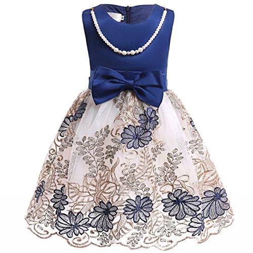 AnKoee Vestito Principessa Abito da Ragazze Cerimonia Matrimonio Tutu Senza Maniche 3-10 Anni (Blu, 100cm/3-4 Anni)